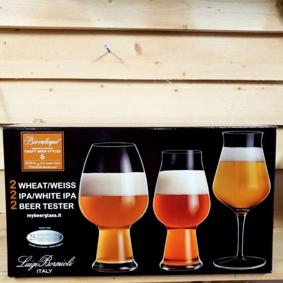 Ölglas kit vå öl-provarglas, två glas Indian pale ale (American pale ale, Double IPA) samt två glas för veteöl (weiss Bier)
