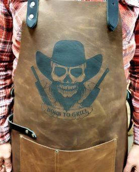 Läderförläde, bbq apron, skinnförkläde, grillförkläde, born to grill, skinn och läder förkläde