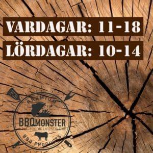 Öppetiderna hos BBQmonster butiken i Ödåkra är vardagar 11-18 samt lördagar 10-14 - Välkomna!