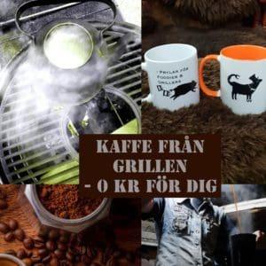 Hos BBQmonster bjuds du på kaffe från grillen. Kokkaffe gjort i kopparkittel i en Kamado. Gratis för dig som kund - testa!