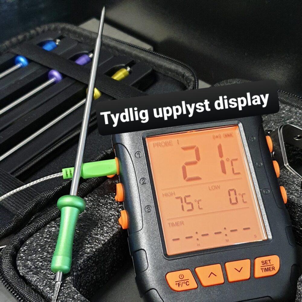 BBQ och grilltermometer trådlös vattentät bluetooth med smart och smidig app kommer med väska och fyra probes samt två gallerklämmor för att hålla probe spetsig probe