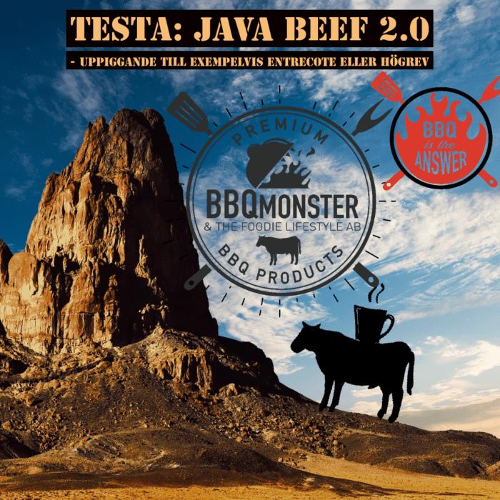 Java beef 2.0 är en mycket uppiggande och spännade rub för nötkött i alla dess former. Zoegas bönor (Zenith) används med udda ingredienser såsom italiens karljohansvamp. Testa till en bit fet entrecote eller högrev - grymt gott. RubsByBBQmonster är hantverkstillverkade rubs som görs av BBQmonster i Ödåkra.