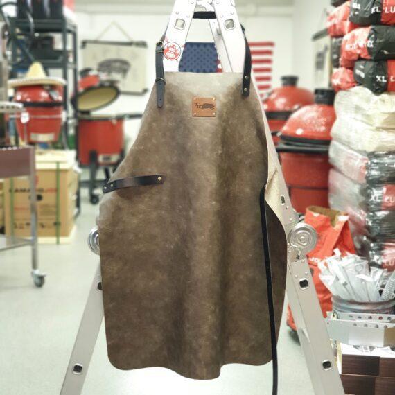 Förkläde i äkta Skinn, Mjukt och smidigt Taupe, Pulled Pork edition