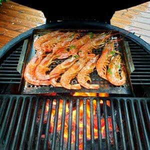 Rödräkor Gigantiska perfekta för att grilla hela över het glöd marinera gärna i het lime marinad
