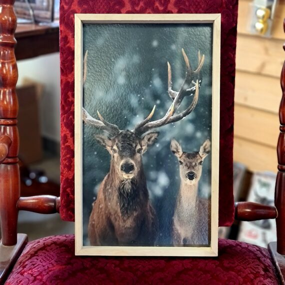 """Tavla med Hjortmotiv """"duo"""" - fint djup och snyggt för en """"Lodge lifestyle"""" och """"Cottage lifestyle"""" Mysigt i stugan och grillhörnan inredning för en """"Lodge lifestyle"""" och """"Cottage lifestyle"""" Tavla med ett härligt djup! Träramen som omfamnar motivet med det eleganta hjortparet skapar ett härligt djup i tavlan. En tavla som passar lika bra i timmerstugan som i myshörnan i 5an i Vasastan. BBQmonster har lanserat ett utvalt koncept av prylar som ryms inom begreppet Lodge lifestyle och Cottage Lifestyle, en växande trend är nämligen att vi söker oss mot en inredning som skall ge oss lugn och gemyt. För många är sannolikt den ultimata målbilden en spartanskt inredd stuga, gärna med träväggar, öppen spis och en lurvig fäll på golvet. I dessa två koncept skall BBQmonster försöka hitta guldkornen (eller silver eller trä...) som symboliserar och skapar känslan av mysfaktor hög. Butiken i Ödåkra är i sig själv inredd med liggande träpanel och inredning som skall skapa en skön känsla, Det är utifrån kunders frågor kring inredning som BBQmonster fick idéen att utöka med dessa Lodge Lifestyle och Cottage Lifestyle. Planen är inte att göra om BBQmonster till en inredningsbutik, utan fokus kommer fortsatt vara på GRILL och BBQ - men då livsnjuteri vid grillen är starkt närbesläktat med livsnjuteriet som sker under en weekend i stugan, i fjällen eller kanske i ditt hem som du format utefter att få känslan av en timmerstuga, jaktstuga eller någon annan målbild som du ser för ditt inre. Här har du ett sådan objekt: en tavla med ett vackert motiv av två ståtliga hjortar. Tavlan har måtten (cm): 40 hög 24 bred 3 djup"""